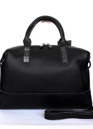"""Женская кожаная сумка-саквояж """"casablanca"""" черная"""