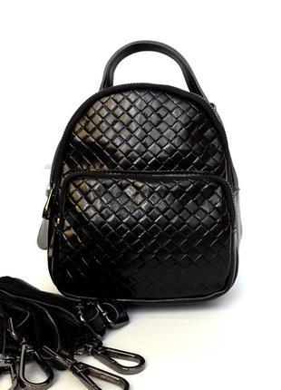 """Женский кожаный рюкзак """"micro"""" черный"""