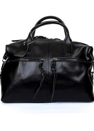 """Женская кожаная сумка-саквояж """"cassiopeia"""" черная"""