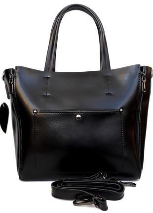 """Женская кожаная сумка """"envelope"""" черная"""
