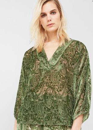 Блуза mango #зеленая #прозрачная #бархатная