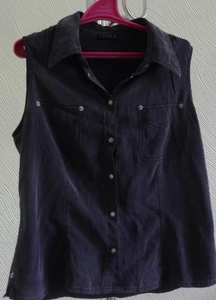 Шовкова рубашка без рукавів під джинс