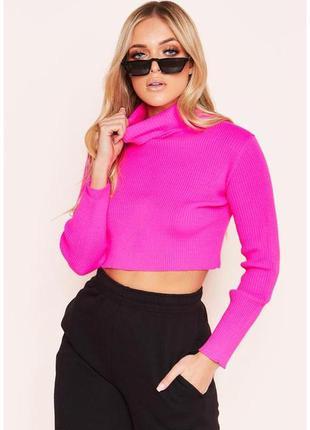 Тотальная распродажа! кроп свитерок розового неонового цвета