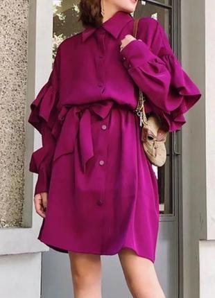 Платье рубашка свободного кроя с рюшами