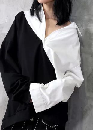 Свитшот -рубашка черный -белый