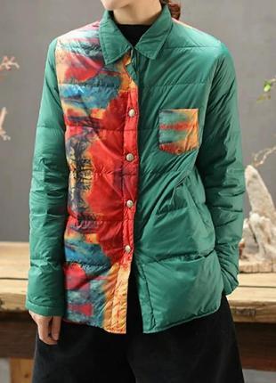 Короткая оригинальная куртка пуховик