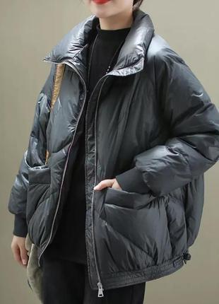 Оригинальная короткая куртка пуховик свободного кроя