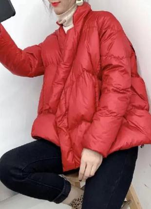 Короткая куртка пуховик свободного кроя