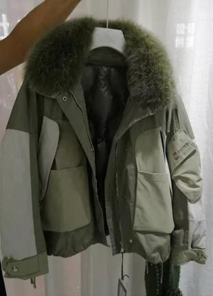 Оригинальна короткая куртка пуховик