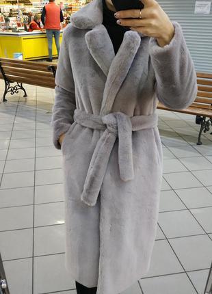 Меховое пальто с поясом , искусственная шуба