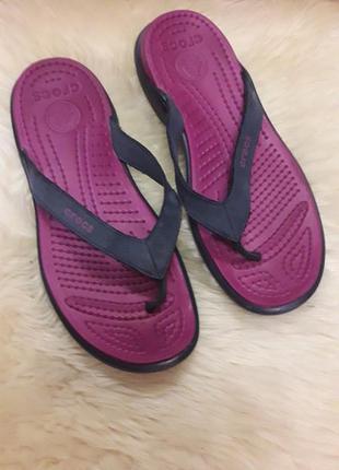 Кожаные вьетнамки кроксы crocs w9