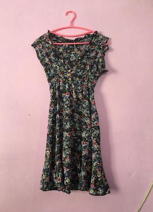 Платье в цветочный принт  цветочек цветы легкое летние