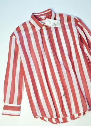 Крутая красная обьемная рубашка в полоску оверсайз