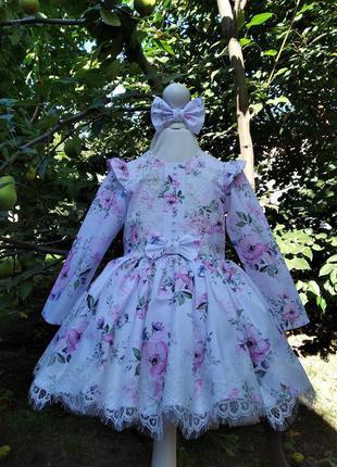 Платье с цветочками доя девочки нарядное