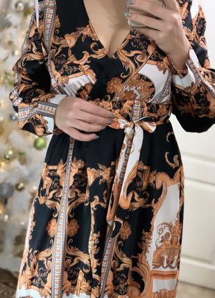 Красивое летнее платье в пол в вензелях бело чёрное