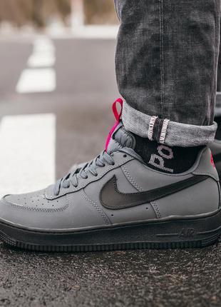 Nike air force dark grey, мужские кроссовки найк серые