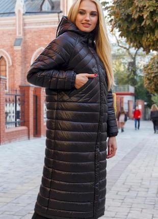 Легчайшая весенняя длинная стеганая куртка-пальто с капюшоном
