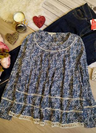 Красивая вискозная блуза свободного кроя в цветы с прошвой раз...