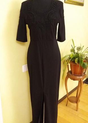 Шикарное длинное черное платье  с кружевом  от  h&m раз.10-12 ...