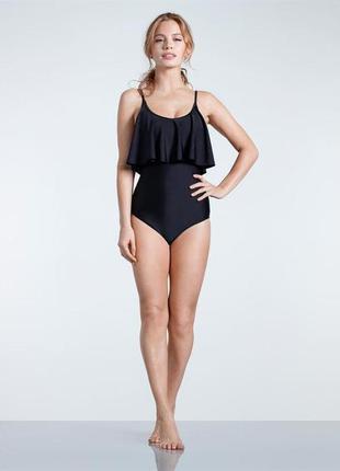 Фирменный сдельный женский черный купальник с рюшами usa pro. ...