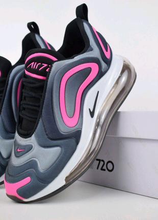Женские кроссовки Nike Air Max 720 Серые с розовым