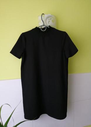 Трикотажное платье туника с воротником стойкой zara