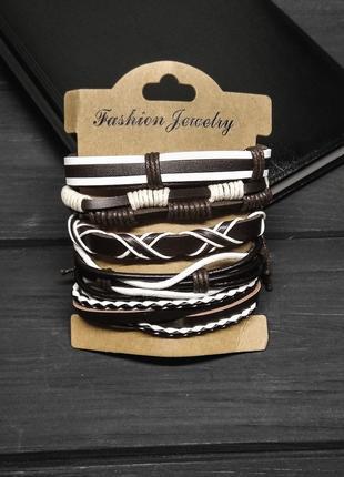Комплект кожаных браслетов