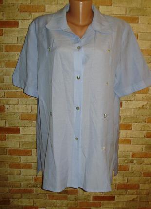 Оригинальная блуза рубашка морская тематика в вышивкой 18/52-5...
