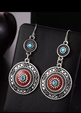 Серьги круглые/античное серебро