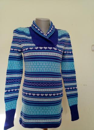 Теплый удлиненный свитер шерсть ягненка