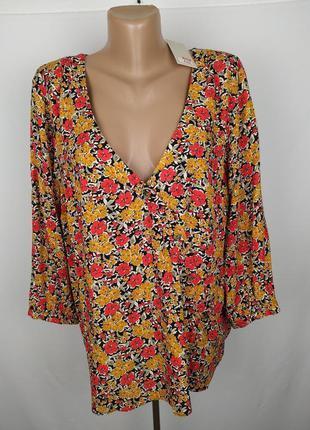 Блуза новая модная натуральная в цветочный принт большой разме...