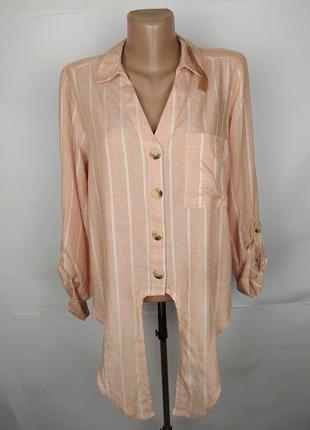 Блуза рубашка новая льняная трендовая в полоску uk 16/44/xl