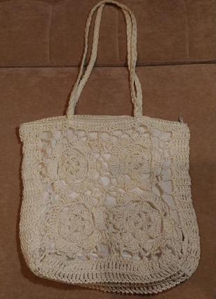 Соломенная, нежная,плетёная, ажурная белая сумка