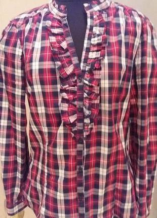 Рубашка  с воланом блуза в клетку zara раз.40