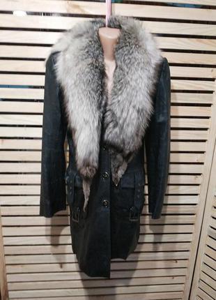Зимняя куртка. кожа, мех
