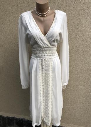 Белое платье,нарядное с кружевом,вискоза,большой размер