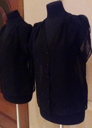 Блуза кофта черная шифон в горох h&m раз.38-m
