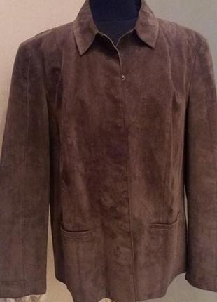 Стильная большой размер куртка пиджак замш коричневый debenham...