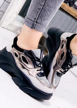 Кроссовки женские черный + бронза