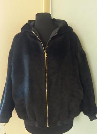 Куртка весна-осень с капюшоном из нат. стриженной шерсти овцы ...