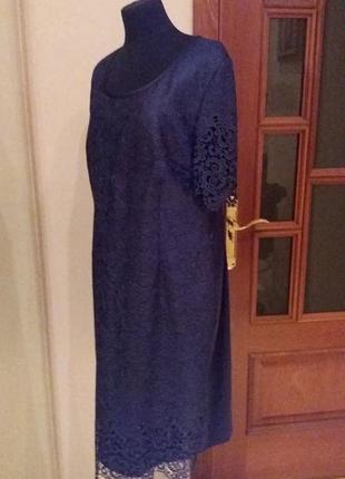 Красивое синее кружево платье батал стрейч markenz раз.16-18 (...