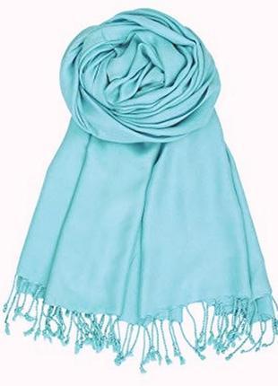 Нежно-бирюзовый весенний шарф - палантин из вискозы