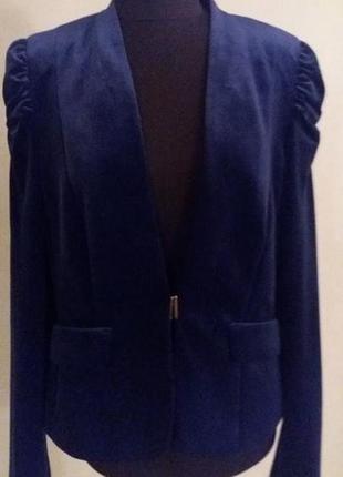 Очень классный пиджак жакет яркий синий бархатный esprit colle...
