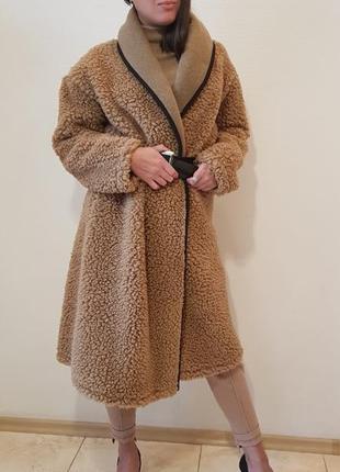 Пальто из буклированной ткани с отложным воротником италия