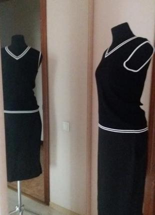 Кофта майка футболка трикотаж  черно-белая  и отдельно  юбка m...