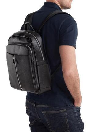 Рюкзак кожаный мужской стильный модный casual анатомическая сп...