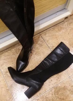 Классные стильные экокожа+стрейч черные высокие сапоги h&m раз...