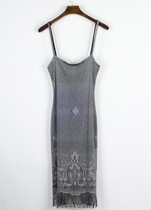 Платье-комбинация миди, серебряное платье ниже колен, сарафан ...