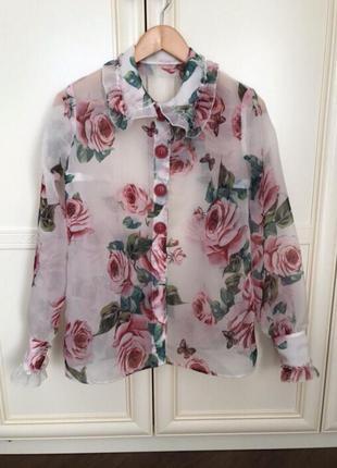 Блуза dolce&gabbana шёлк органза м-л