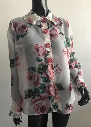Блуза шёлк/органза из оригинальной ткани dolce&gabbana дольче ...